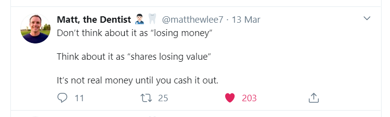 quote from twitter on why you should not touch your investment if you want to manage your personal finances during quarantine