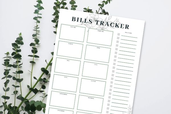 Bills tracker printable