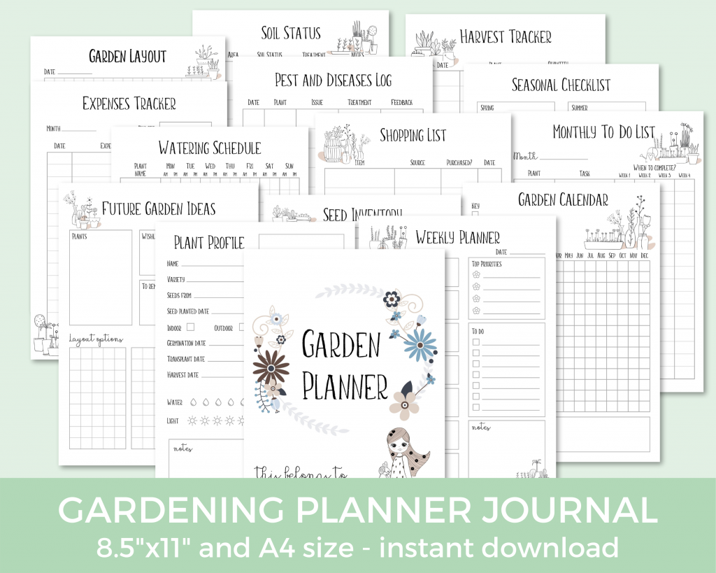 image of the garden bundle printables I use to keep track of the cost of gardening