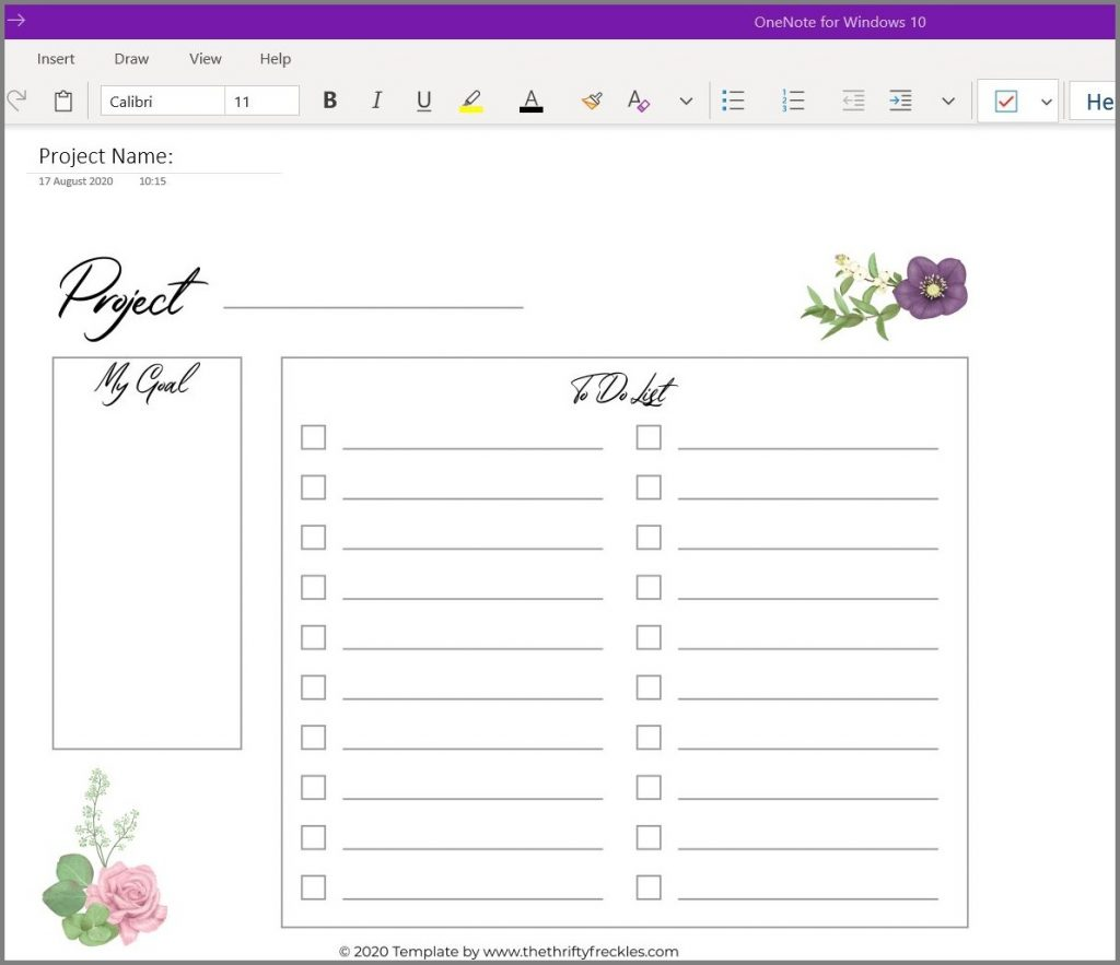 free onenote template screenshot project