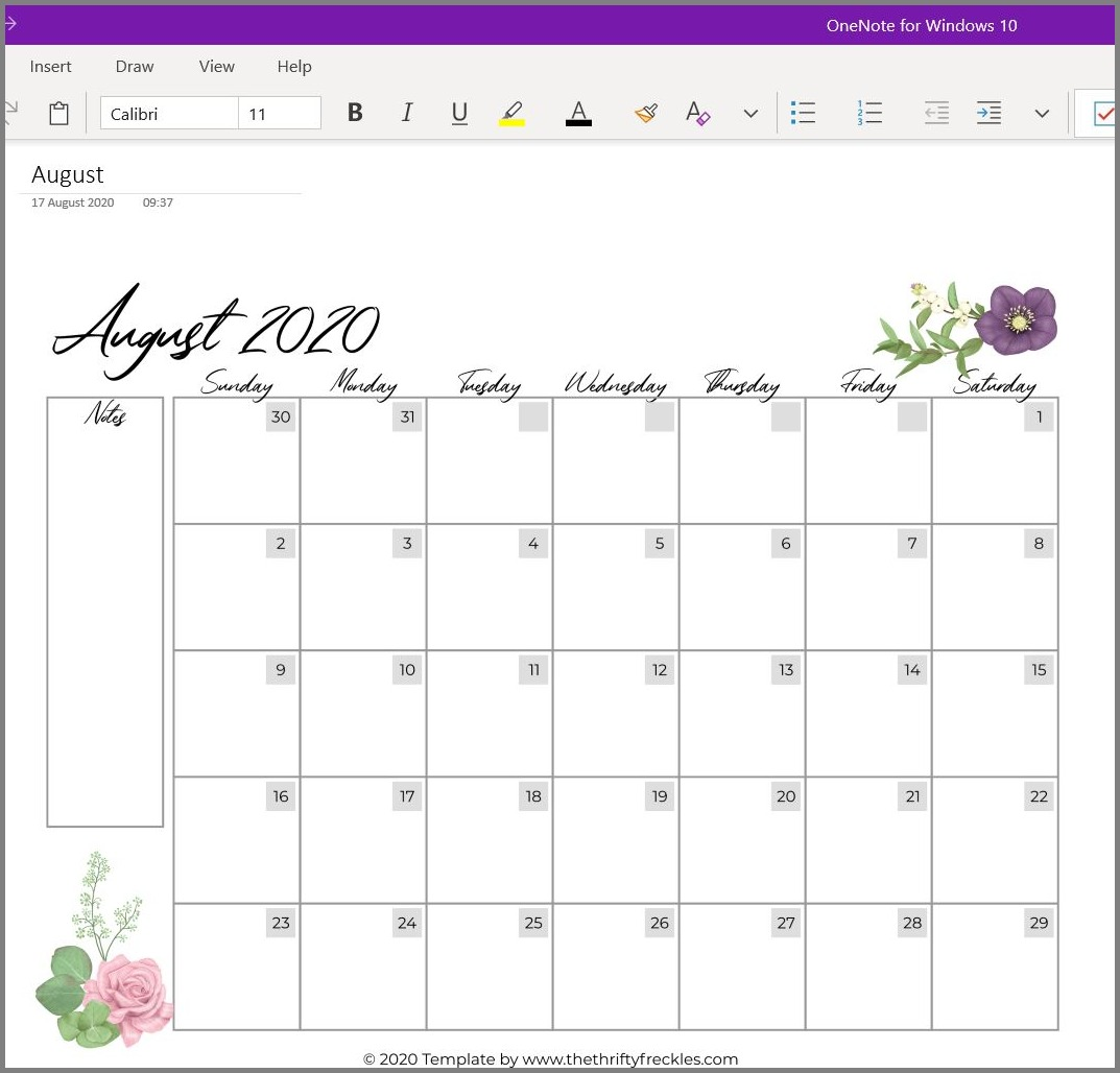 free onenote template screenshot calendar