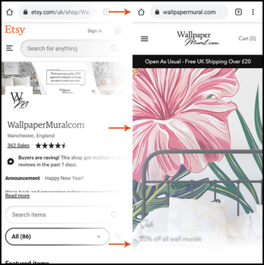 image comparison of etsy shop and ecommerce pages, to show how to scale etsy into your own store